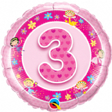 3rd Birthday Faries Pink Foil Balloon